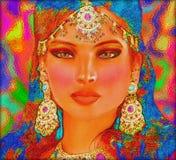 Brunetki kobieta w pięknym abstrakcjonistycznym cyfrowym sztuka stylu Fotografia Royalty Free