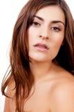 Brunetki kobiety portreta naturalny makeup odizolowywający Obrazy Stock