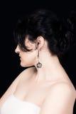 Brunetki kobiety profil na czarnym tle Fotografia Stock