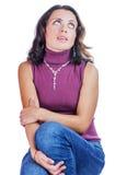 Brunetki kobiety zastanawiać się Fotografia Stock