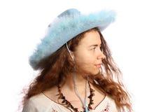 brunetki kowbojski dziewczyny kapelusz obraz stock