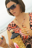 brunetki oświetlenia pochodnia fotografia royalty free