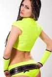 brunetki odzieżowej dziewczyny zieleni gorący target1534_0_ Zdjęcia Stock