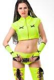 brunetki odzieżowej dziewczyny zieleni gorący target2225_0_ Fotografia Stock