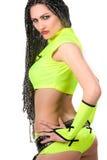 brunetki odzieżowej dziewczyny zieleni gorący target527_0_ Zdjęcie Royalty Free