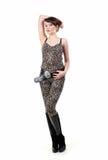 brunetki odzieżowy dziewczyny lampart target250_0_ potomstwa Fotografia Royalty Free