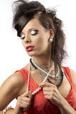 brunetki twarzy mody ręka blisko portreta Obraz Royalty Free