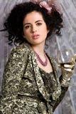 brunetki zielonej kurtki model Zdjęcie Royalty Free