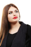 秀丽年轻拉丁妇女画象,长的头发brunett女孩 免版税图库摄影