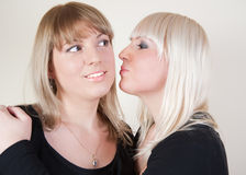 Brunett and blond girl kissing in the cheeck Royalty Free Stock Images