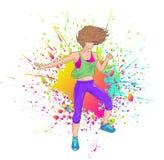 Brunett som dansar Zumba vektor illustrationer