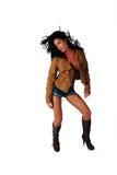 brunett som klipps av sexiga kortslutningar Royaltyfri Foto