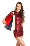 Brunett woman with shopping bags Stock Photography