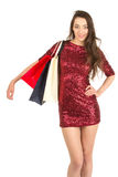 Brunett woman with shopping bags Royalty Free Stock Images