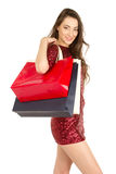 Brunett woman with shopping bags Royalty Free Stock Photo