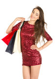 Brunett woman with shopping bags Royalty Free Stock Image