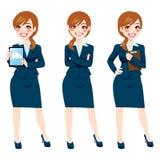 Brunettaffärskvinna Full Body Poses stock illustrationer