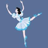 Brunettdansare i en blå klänning stock illustrationer