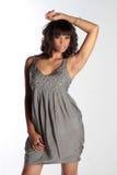 Brunette élégant dans la robe de soirée Images stock