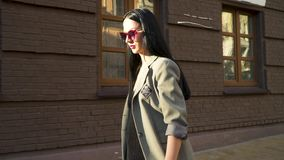 Brunette κομψότητας στο παλτό και γυαλιά ηλίου που κινούνται σε σε αργή κίνηση απόθεμα βίντεο