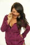 Brunette με τα γυαλιά ηλίου Στοκ φωτογραφία με δικαίωμα ελεύθερης χρήσης