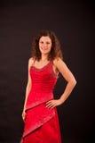 Brunette που φορά το γαλλικό φόρεμα κανκάν Στοκ Εικόνα