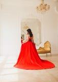 Brunette σε ένα μακρύ κόκκινο φόρεμα Στοκ Εικόνες