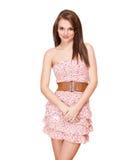 Brunette φορεμάτων άνοιξη. Στοκ Εικόνα