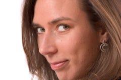 πορτρέτο κινηματογραφήσεων σε πρώτο πλάνο brunette στοκ εικόνες