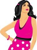 όμορφο ροζ φορεμάτων brunette Στοκ Εικόνες