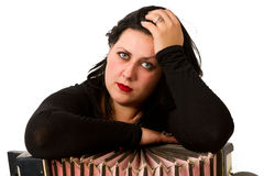 Brunette with accordion Royalty Free Stock Photography