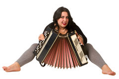 Brunette with accordion Royalty Free Stock Photos