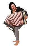Brunette with accordion Royalty Free Stock Photo