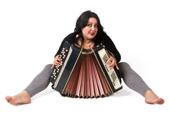 Brunette with accordion isolated Royalty Free Stock Photo