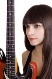 Brunette And Red Guitar Stock Images