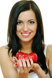 Brunette with apple Stock Image