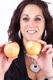 Brunette and apples Stock Photography