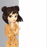 Brunette Asian Girl Hold Banner Stock Photos