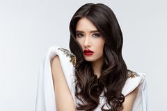 Brunette asian girl with long curly hair Royalty Free Stock Photo