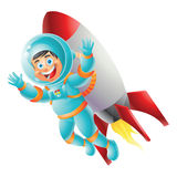 Brunette Astronaut boy rocket backpack isolated Royalty Free Stock Images