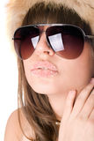 Brunette atractivo con los labios del azúcar Imagen de archivo libre de regalías