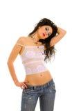 Brunette atractivo sobre el fondo blanco Foto de archivo libre de regalías