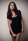 Brunette attractive girl in black Royalty Free Stock Photo