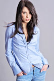 Brunette attraente in camicia blu fotografie stock