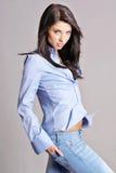 Brunette attraente in camicia blu immagine stock