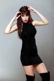 Brunette attraente in un piccolo vestito nero, proponente Fotografia Stock