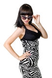 Brunette attraente in vetri Fotografia Stock Libera da Diritti