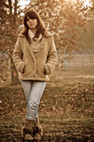 Brunette at autumn Royalty Free Stock Photography