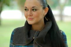Brunette aux yeux verts Image stock