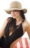 Brunette avec le chapeau d'été photo libre de droits